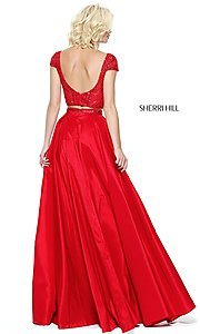Image of two-piece Sherri Hill long prom dress with beaded top. Style: SH-50802 Back Image