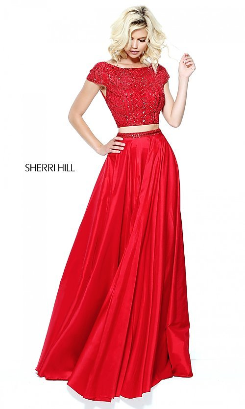 Image of two-piece Sherri Hill long prom dress with beaded top. Style: SH-50802 Front Image