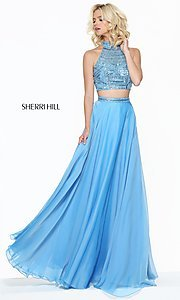 Image of two-piece long Sherri Hill prom dress with beading.  Style: SH-50809 Detail Image 1