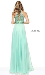 Image of two-piece long Sherri Hill prom dress with beading.  Style: SH-50809 Back Image