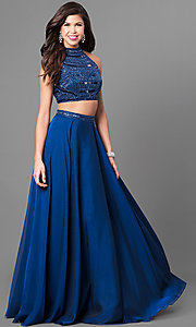 Image of two-piece long Sherri Hill prom dress with beading.  Style: SH-50809 Front Image
