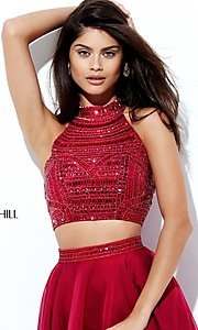 Image of two-piece long Sherri Hill prom dress with beading.  Style: SH-50809 Detail Image 3