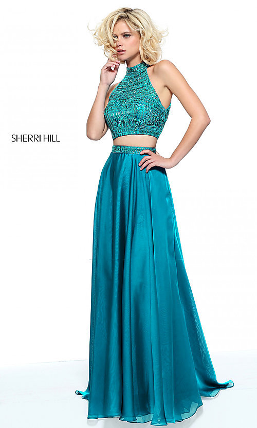 5cdebf88b40 Image of two-piece long Sherri Hill prom dress with beading. Style  SH