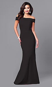 Image of off-the-shoulder military ball dress.  Style: SH-50824 Front Image