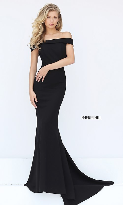 e5e047859ed4 Image of off-the-shoulder Sherri Hill military ball dress. Style  SH