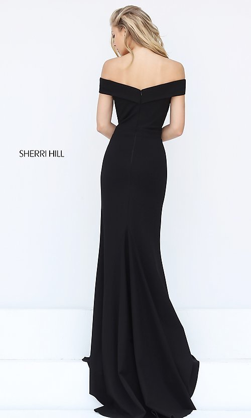 Image of off-the-shoulder Sherri Hill military ball dress.  Style: SH-50824 Back Image