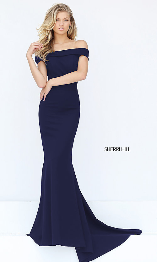 Image of off-the-shoulder Sherri Hill military ball dress.  Style: SH-50824 Detail Image 1