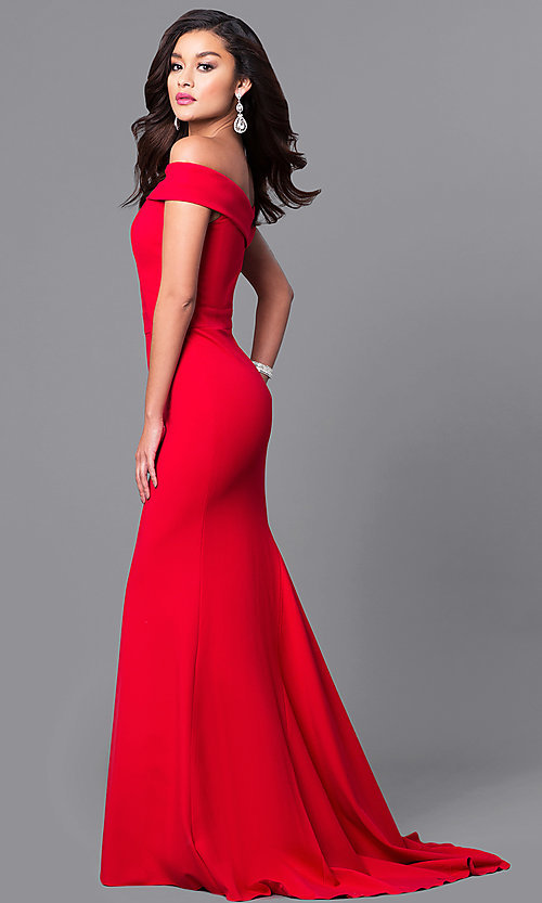 Image of off-the-shoulder Sherri Hill military ball dress.  Style: SH-50824 Detail Image 2