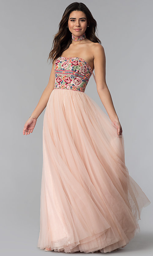 0f507fc436ec Image of long Sherri Hill formal dress with embroidery. Style: SH-50873  Front