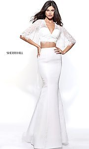 Image of two-piece Sherri Hill prom dress with lace top. Style: SH-50877 Front Image