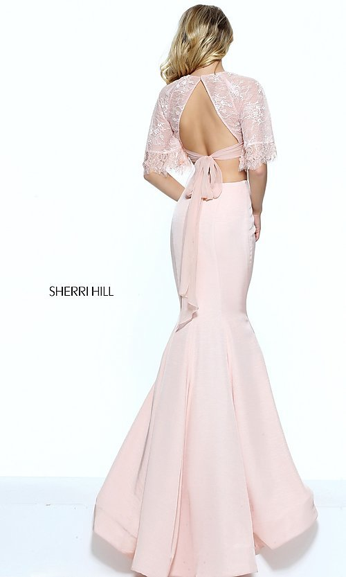 Image of two-piece Sherri Hill prom dress with lace top. Style: SH-50877 Back Image