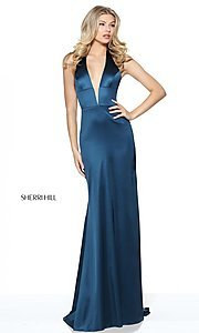 Image of Sherri Hill halter long prom dress with deep v-neck. Style: SH-50919 Detail Image 2