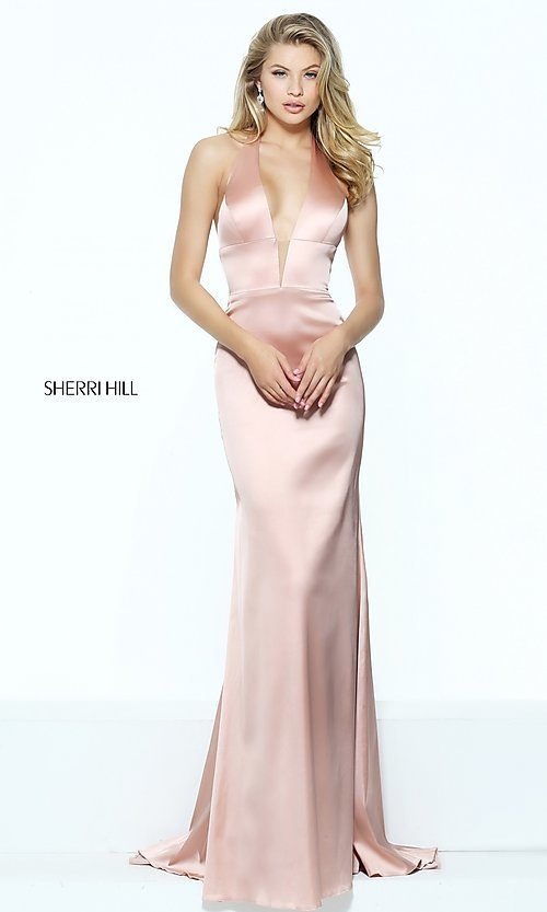 Image of Sherri Hill halter long prom dress with deep v-neck. Style: SH-50919 Front Image
