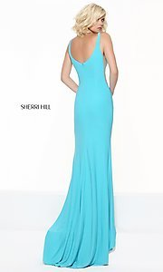 Image of Sherri Hill long prom dress with illusion panels. Style: SH-50940 Back Image