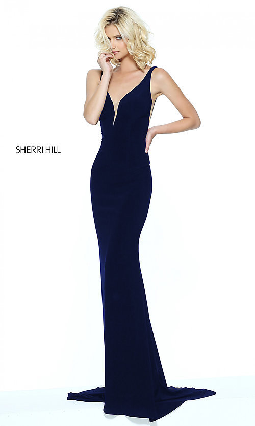 Image of Sherri Hill long prom dress with illusion panels. Style: SH-50940 Detail Image 2
