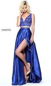Image of Sherri Hill long two-piece prom dress with beading. Style: SH-50993 Front Image
