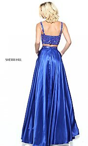 Image of Sherri Hill long two-piece prom dress with beading. Style: SH-50993 Back Image