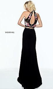 Image of embroidered-top long Sherri Hill two-piece prom dress. Style: SH-51059 Back Image