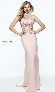 Image of embroidered-top long Sherri Hill two-piece prom dress. Style: SH-51059 Detail Image 2