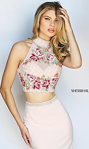 Image of embroidered-top long Sherri Hill two-piece prom dress. Style: SH-51059 Detail Image 3
