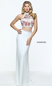 Image of embroidered-top long Sherri Hill two-piece prom dress. Style: SH-51059 Front Image