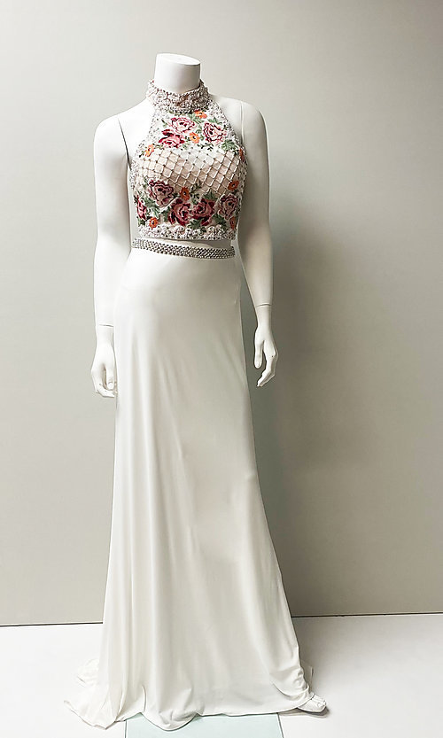 Image of floral embroidered-top long two-piece prom dress. Style: SH-51059 Front Image