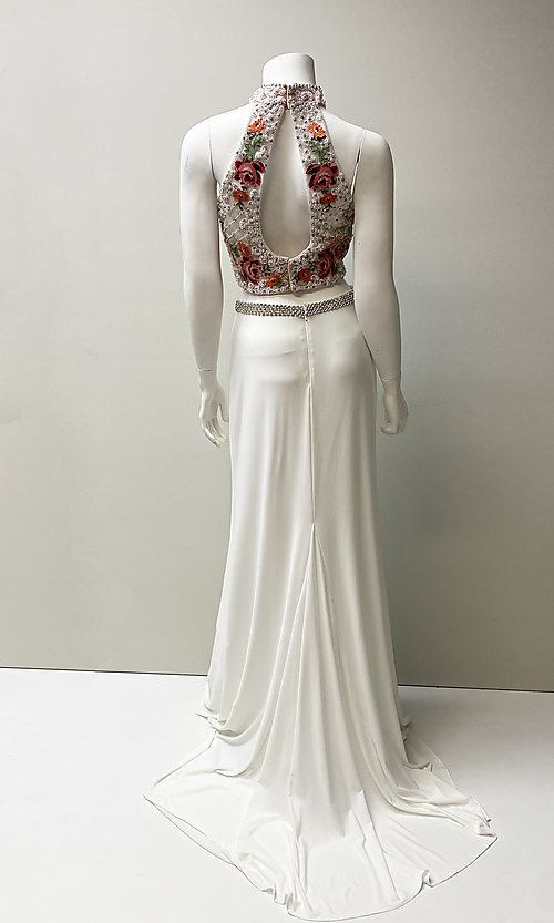 Image of floral embroidered-top long two-piece prom dress. Style: SH-51059 Back Image