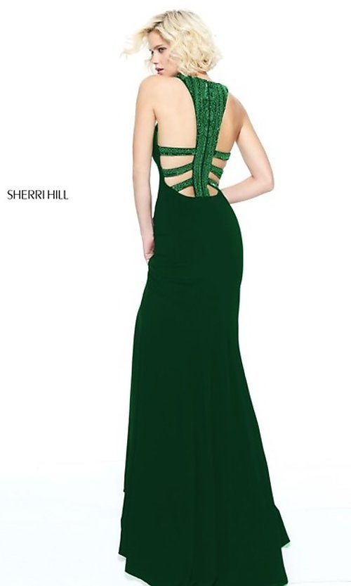 Image of Sherri Hill long formal dress with beaded collar. Style: SH-51090 Detail Image 2