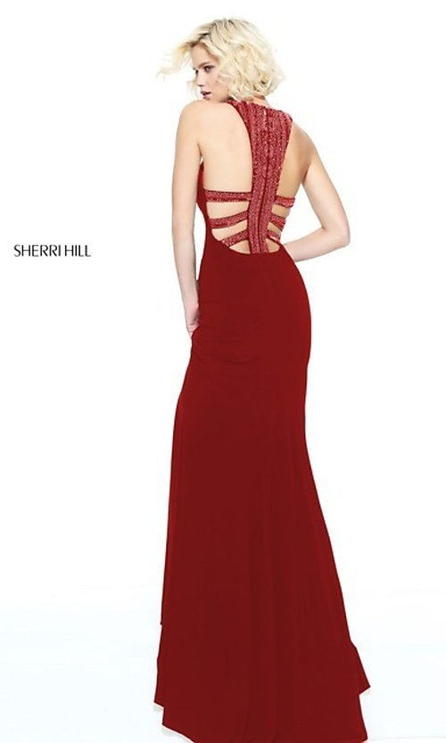 Image of Sherri Hill long formal dress with beaded collar. Style: SH-51090 Detail Image 3