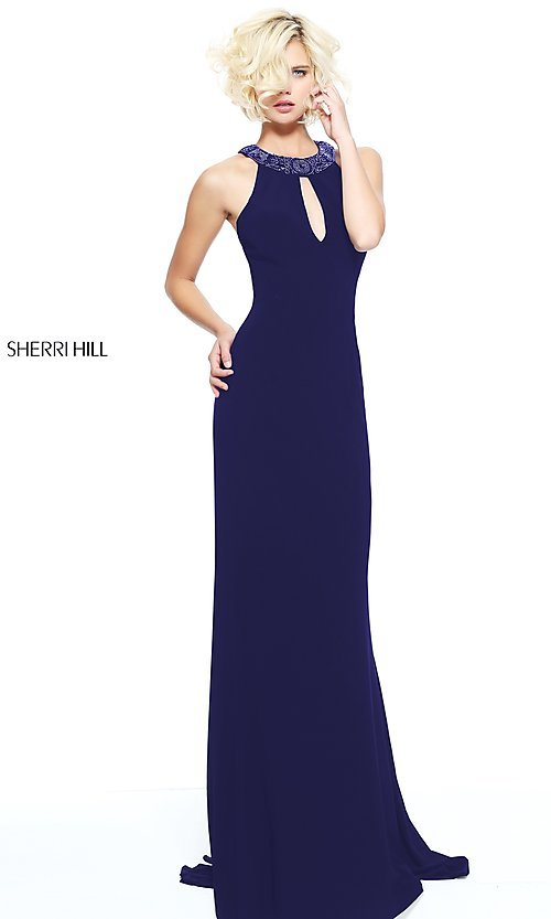 Image of Sherri Hill long formal dress with beaded collar. Style: SH-51090 Front Image