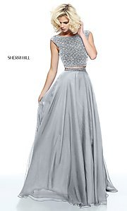 Image of two-piece Sherri Hill beaded-top long prom dress. Style: SH-51091 Detail Image 1