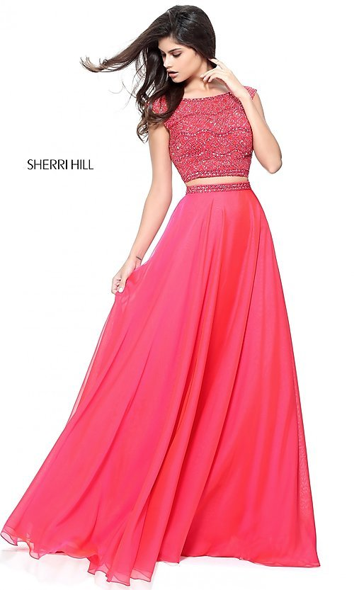 240aa81ed56 Image of two-piece Sherri Hill beaded-top long prom dress. Style