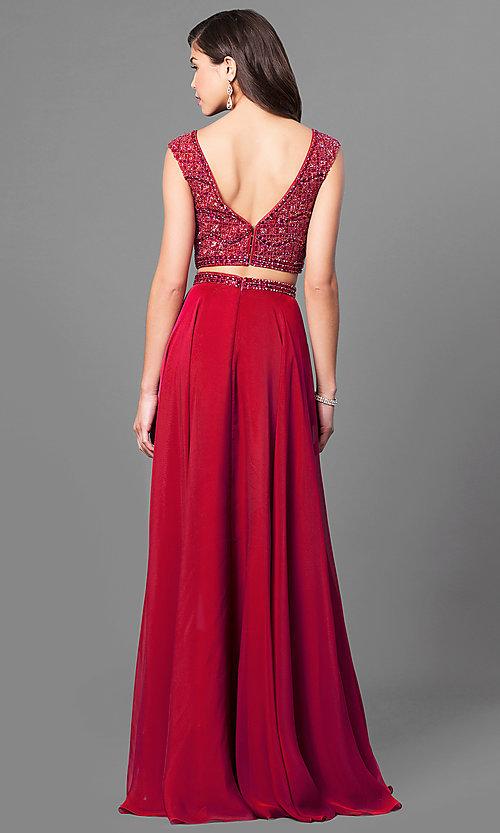 Image of two-piece Sherri Hill beaded-top long prom dress. Style: SH-51091 Back Image