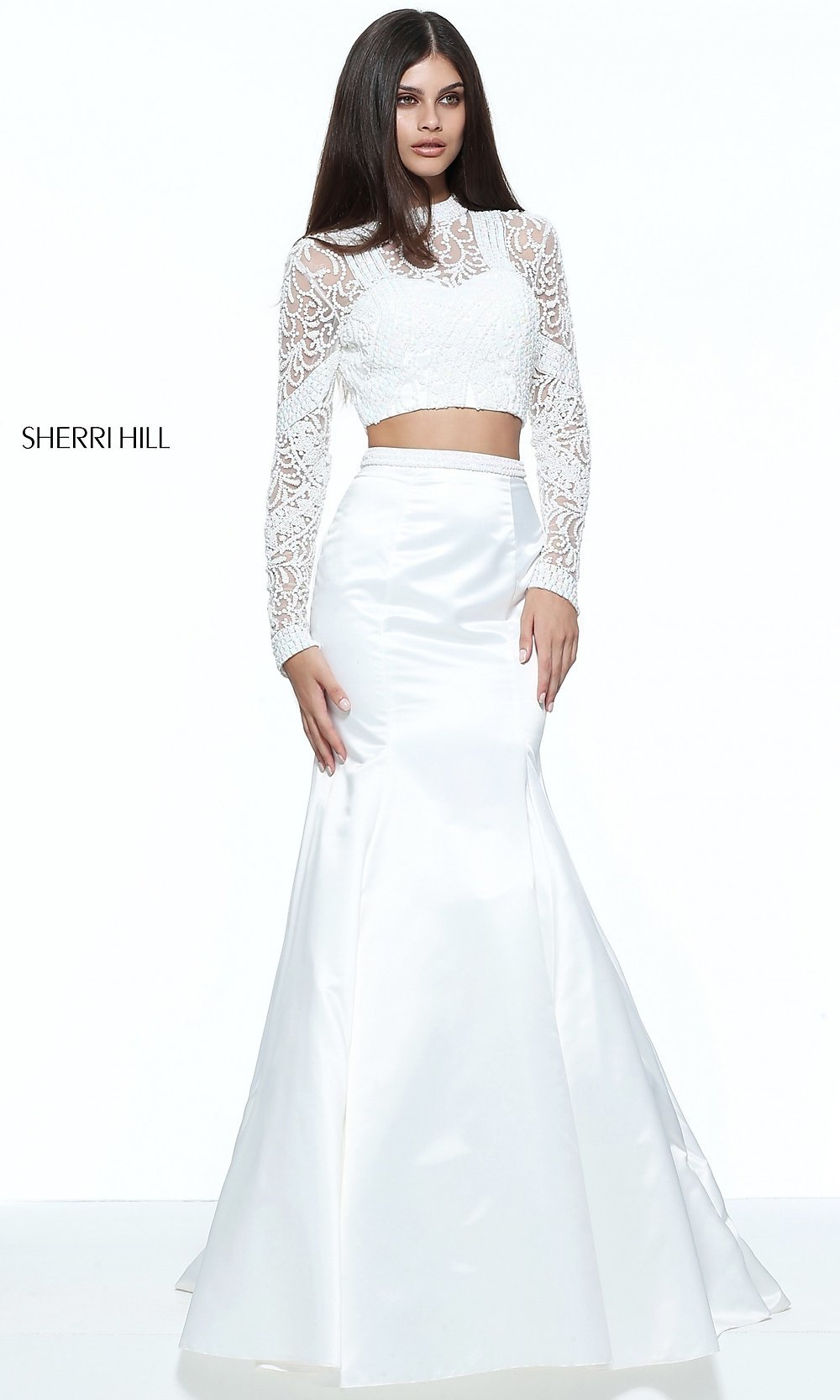 535d8c251ff Image of two-piece Sherri Hill sleeved mermaid prom dress. Style  SH-. Tap  to expand