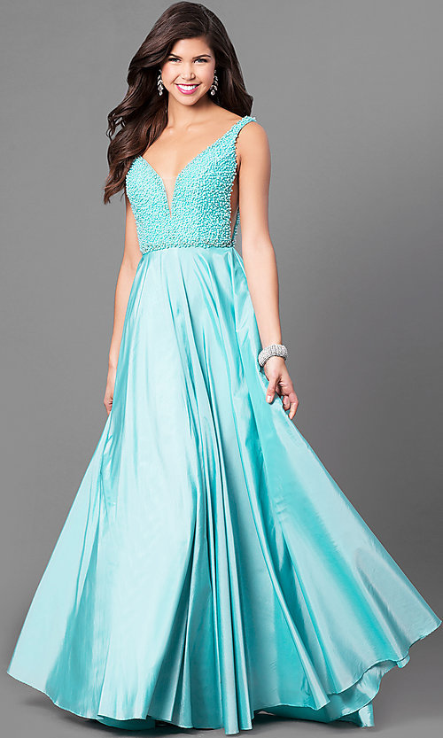 Long Sherri Hill V-Neck Prom Dress