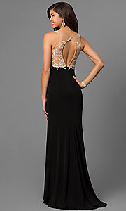Image of long prom dress with embroidered illusion v-neck bodice. Style: NC-7368 Back Image
