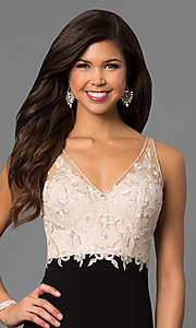 Image of long prom dress with embroidered illusion v-neck bodice. Style: NC-7368 Detail Image 1