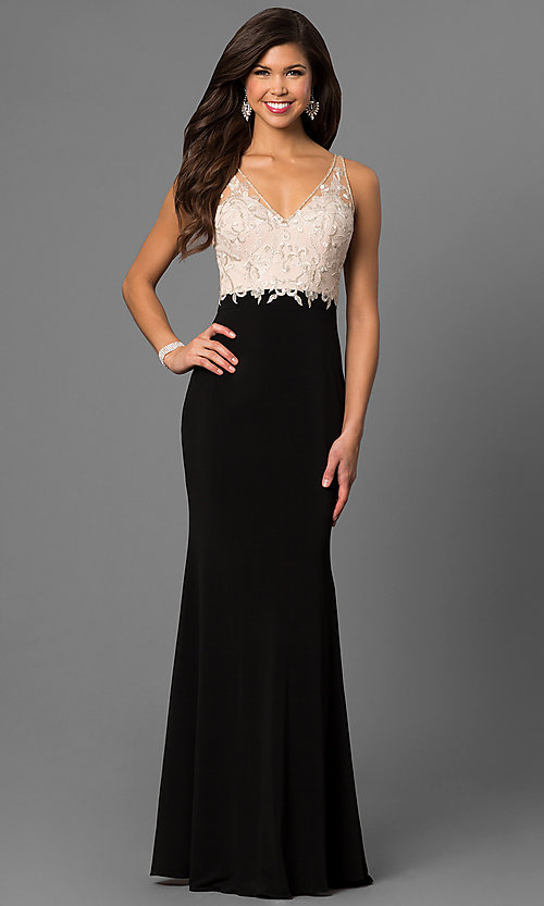 Image of long prom dress with embroidered illusion v-neck bodice. Style: NC-7368 Front Image