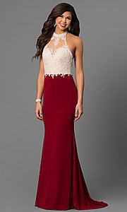 Image of open-back long formal dress with embroidered halter. Style: NC-7369 Front Image