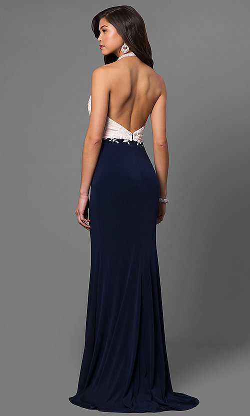 Image of open-back long formal dress with embroidered halter. Style: NC-7369 Back Image
