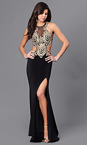 Image of beaded illusion-bodice long prom dress by Dave & Johnny. Style: DJ-A5324 Front Image