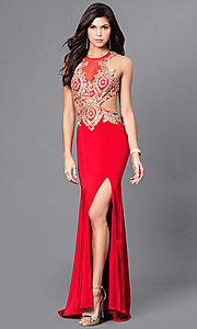 Image of beaded illusion-bodice long prom dress by Dave & Johnny. Style: DJ-A5324 Detail Image 2