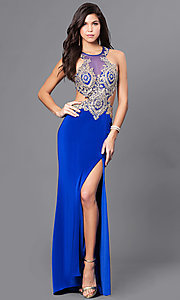 Image of beaded illusion-bodice long prom dress by Dave & Johnny. Style: DJ-A5324 Detail Image 1