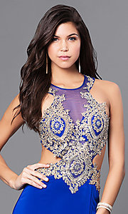 Image of beaded illusion-bodice long prom dress by Dave & Johnny. Style: DJ-A5324 Detail Image 3