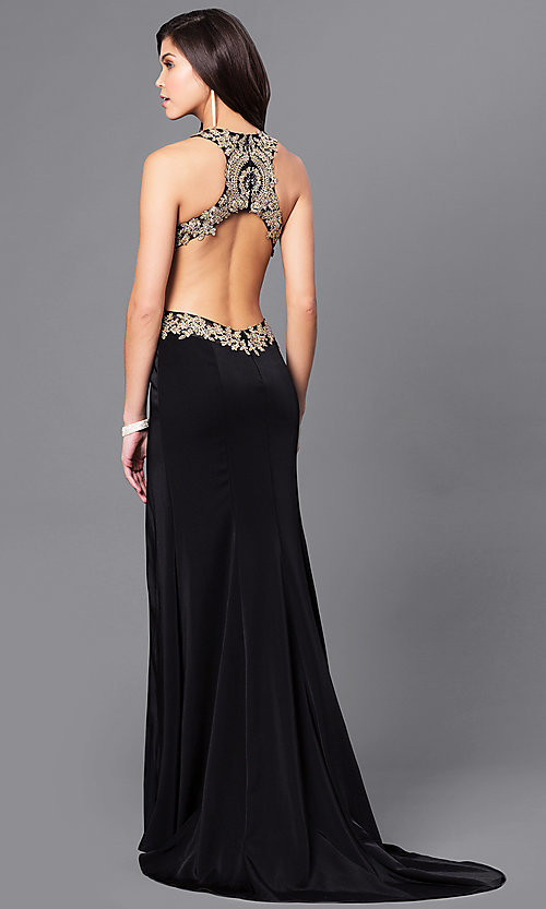 Image of beaded illusion-bodice long prom dress by Dave & Johnny. Style: DJ-A5324 Back Image