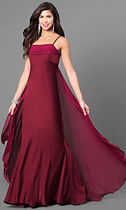 Image of long Dave and Johnny empire-waist formal dress. Style: DJ-A5137 Detail Image 3