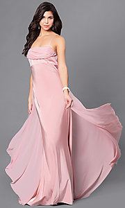 Image of long Dave and Johnny empire-waist formal dress. Style: DJ-A5137 Front Image