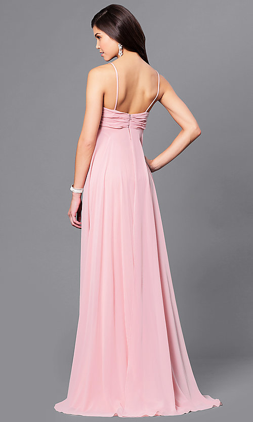 Image of long Dave and Johnny empire-waist formal dress. Style: DJ-A5137 Back Image