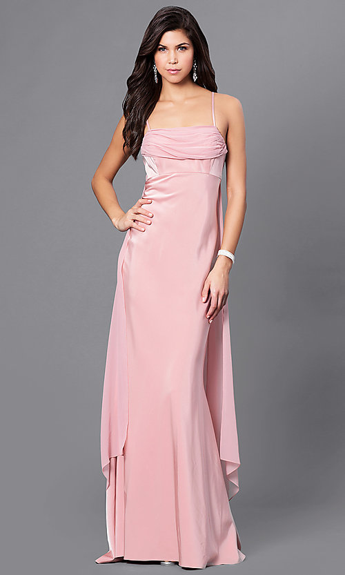 Image of long Dave and Johnny empire-waist formal dress. Style: DJ-A5137 Detail Image 1