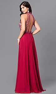 Image of burgundy red open-back long prom dress with beading. Style: DJ-A4747 Back Image
